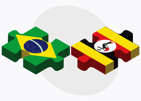 oeganda: Brazil and Uganda Flags in puzzle isolated on white background