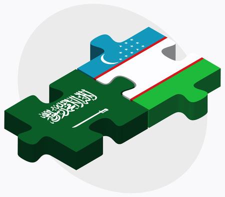 oezbekistan: Saudi Arabia and Uzbekistan Flags in puzzle isolated on white background
