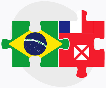 federative republic of brazil: Brazil and Wallis and Futuna Flags in puzzle isolated on white background