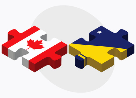 tokelau: Canada and Tokelau Flags in puzzle isolated on white background