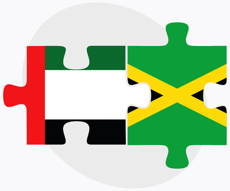 kingston: United Arab Emirates and Jamaica Flags in puzzle isolated on white background