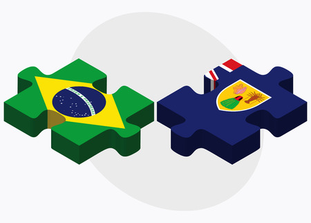 the turks: Brazil and Turks and Caicos Islands Flags in puzzle isolated on white background Illustration
