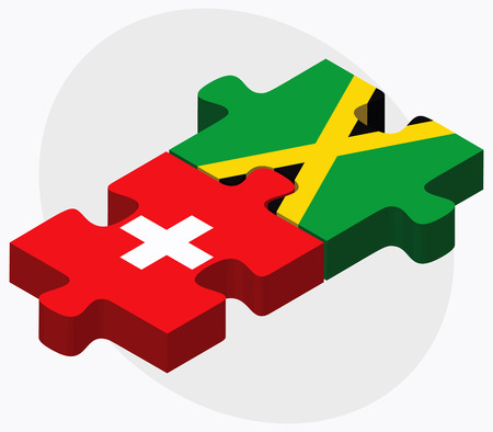 kingston: Switzerland and Jamaica Flags in puzzle isolated on white background