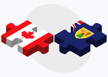 the turks: Canada and Turks and Caicos Islands Flags in puzzle isolated on white background Illustration