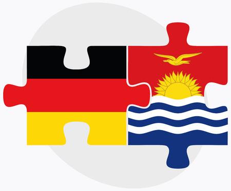 kiribati: Germany and Kiribati Flags in puzzle isolated on white background