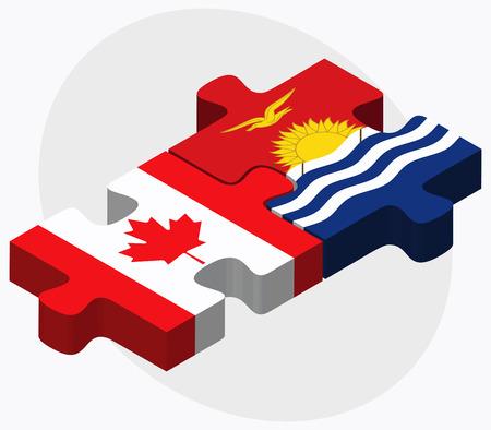 kiribati: Canada and Kiribati Flags in puzzle isolated on white background