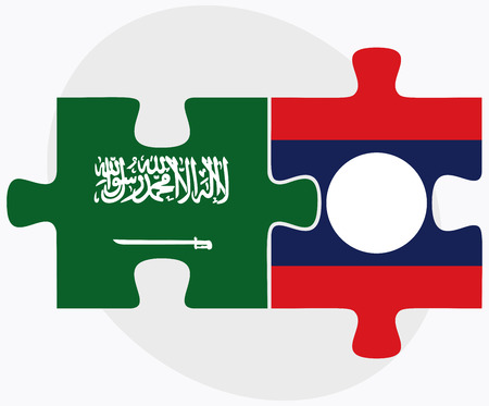 laotian: Saudi Arabia and Laos Flags in puzzle isolated on white background Illustration