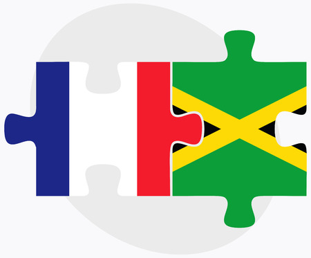 kingston: France and Jamaica Flags in puzzle isolated on white background