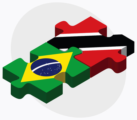 federative republic of brazil: Brazil and Trinidad and Tobago Flags in puzzle isolated on white background
