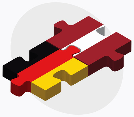 ドイツとラトビアのフラグ パズルに孤立した白い背景  イラスト・ベクター素材