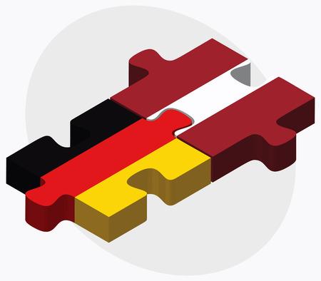 독일 및 라트비아 흰색 배경에 고립 된 퍼즐에서 플래그 일러스트