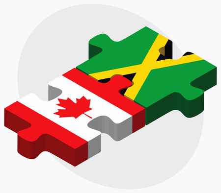 kingston: Canada and Jamaica Flags in puzzle isolated on white background