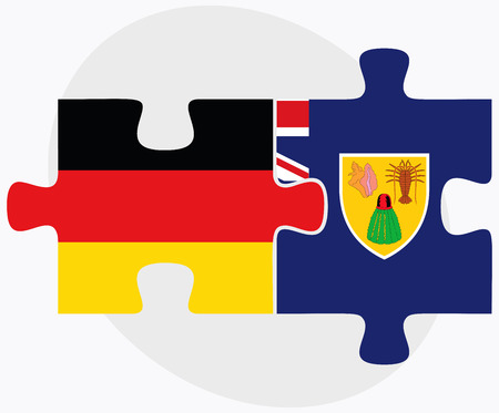 federal republic of germany: Germany and Turks and Caicos Islands Flags in puzzle isolated on white background