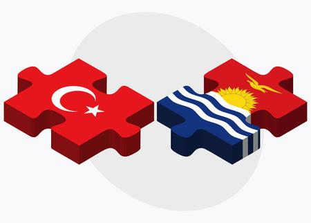 kiribati: Turkey and Kiribati Flags in puzzle isolated on white background