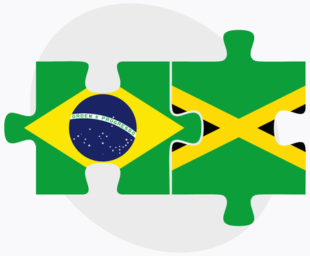 kingston: Brazil and Jamaica Flags in puzzle isolated on white background