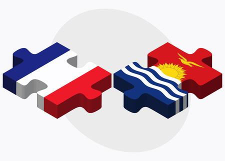 kiribati: France and Kiribati Flags in puzzle isolated on white background