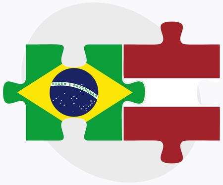 federative republic of brazil: Brazil and Latvia Flags in puzzle isolated on white background