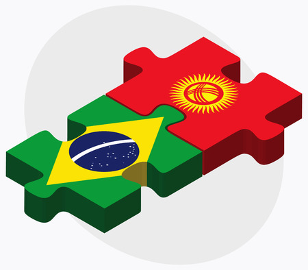 federative republic of brazil: Brazil and Kyrgyzstan Flags in puzzle isolated on white background