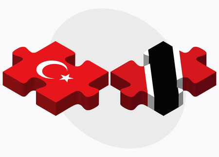 trinidad: Turkey and Trinidad and Tobago Flags in puzzle isolated on white background Illustration