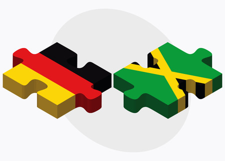 kingston: Germany and Jamaica Flags in puzzle isolated on white background