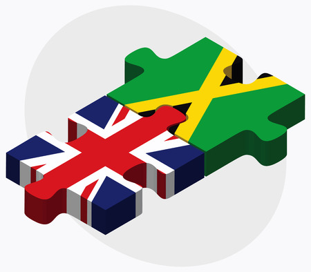 kingston: United Kingdom and Jamaica Flags in puzzle isolated on white background
