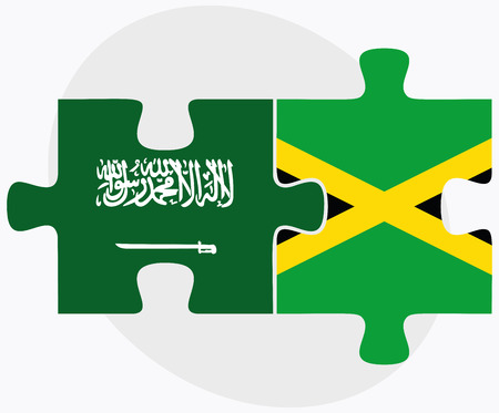 kingston: Saudi Arabia and Jamaica Flags in puzzle isolated on white background Illustration