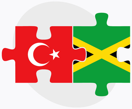 kingston: Turkey and Jamaica Flags in puzzle isolated on white background