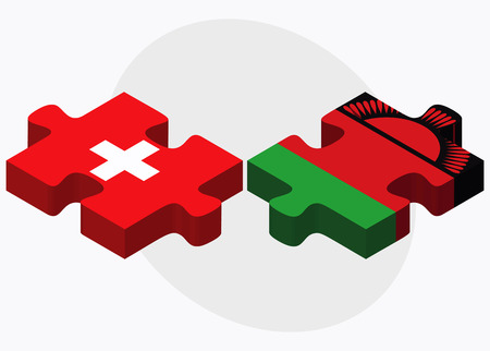 malawian flag: Switzerland and Malawi Flags in puzzle isolated on white background