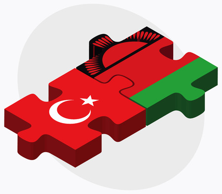 malawian flag: Turkey and Malawi Flags in puzzle isolated on white background
