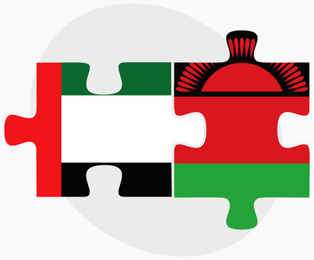 malawian flag: United Arab Emirates and Malawi Flags in puzzle isolated on white background