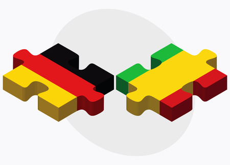 bamako: Germany and Mali Flags in puzzle isolated on white background Illustration