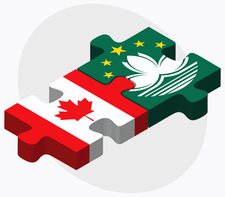macau: Canada and Macau Flags in puzzle isolated on white background