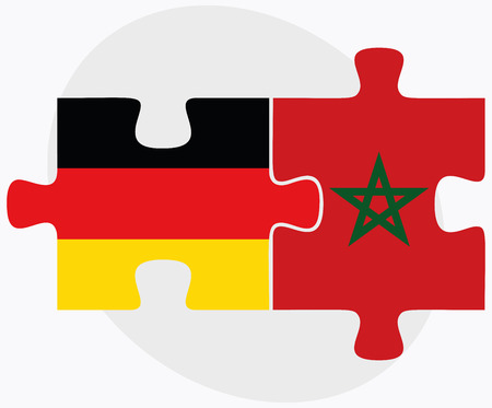 berber: Germany and Morocco Flags in puzzle isolated on white background