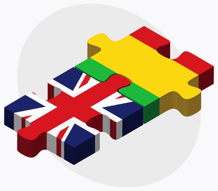 malibu: United Kingdom and Mali Flags in puzzle isolated on white background