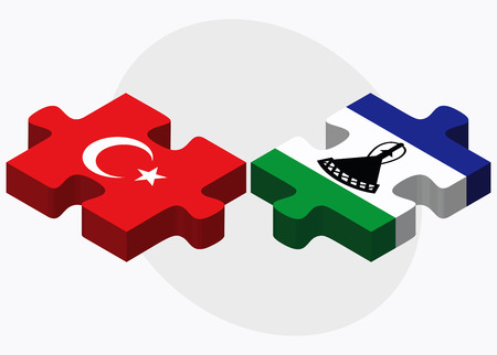 eurasian: Turkey and Lesotho Flags in puzzle isolated on white background