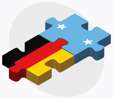 federated: Germany and Micronesia Flags in puzzle isolated on white background