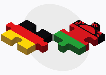 malawian flag: Germany and Malawi Flags in puzzle isolated on white background