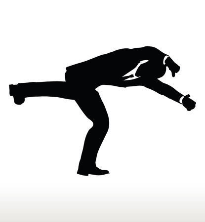 Vector illustration in silhouette of businessman falling