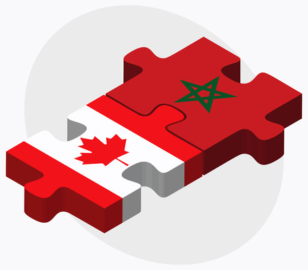 berber: Canada and Morocco Flags in puzzle isolated on white background