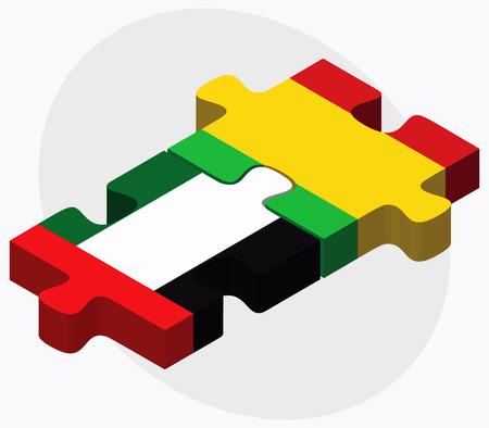 malibu: United Arab Emirates and Mali Flags in puzzle isolated on white background Illustration