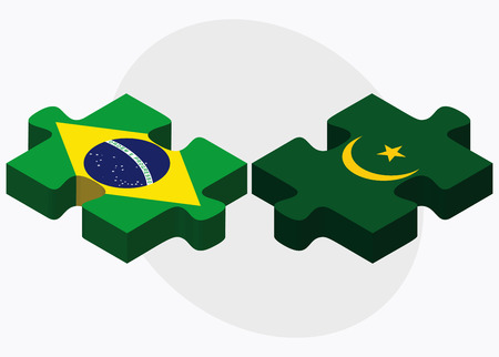 federative republic of brazil: Brazil and Mauritania Flags in puzzle isolated on white background