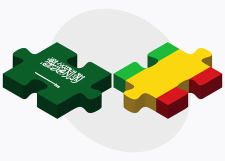 malibu: Saudi Arabia and Mali Flags in puzzle isolated on white background
