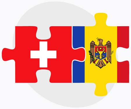 moldovan: Switzerland and Moldova Flags in puzzle isolated on white background