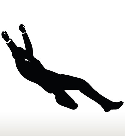 collapsing: Vector illustration in silhouette of businessman falling