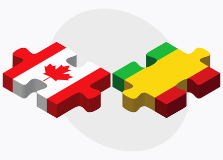 bamako: Canada and Mali Flags in puzzle isolated on white background