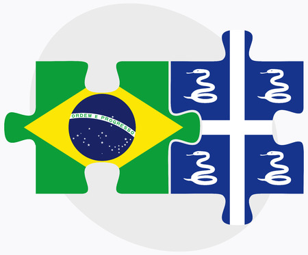 martinique: Brazil and Martinique Flags in puzzle isolated on white background