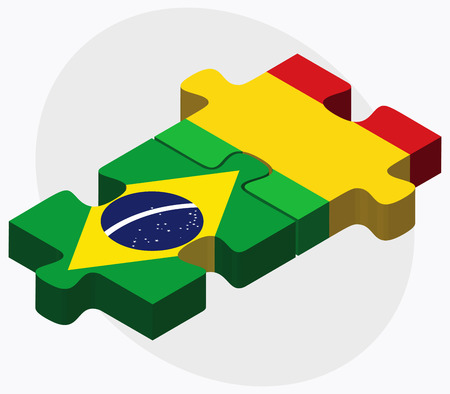 malibu: Brazil and Mali Flags in puzzle isolated on white background