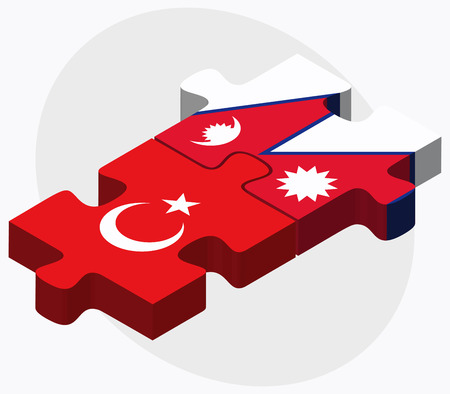 nepal: Turkey and Nepal Flags in puzzle isolated on white background Illustration
