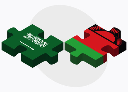 malawian flag: Saudi Arabia and Malawi Flags in puzzle isolated on white background