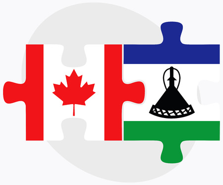 lesotho: Canada and Lesotho Flags in puzzle isolated on white background Illustration